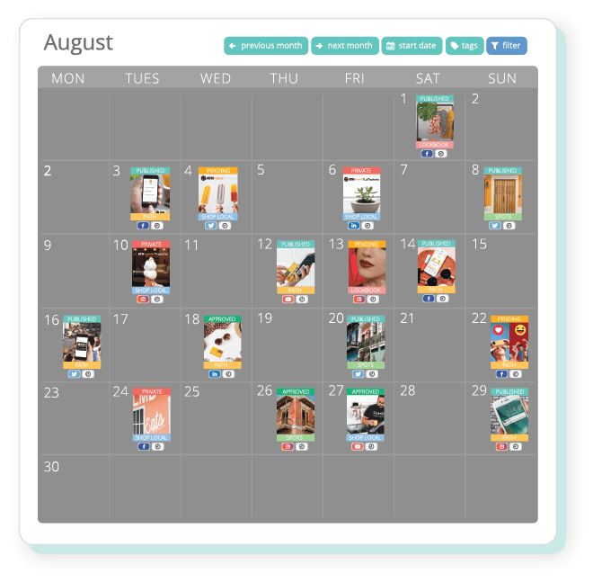 content marketing social media calendar planner
