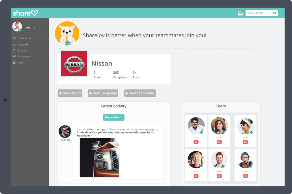 Sharelov's marketing collaboration dashboard