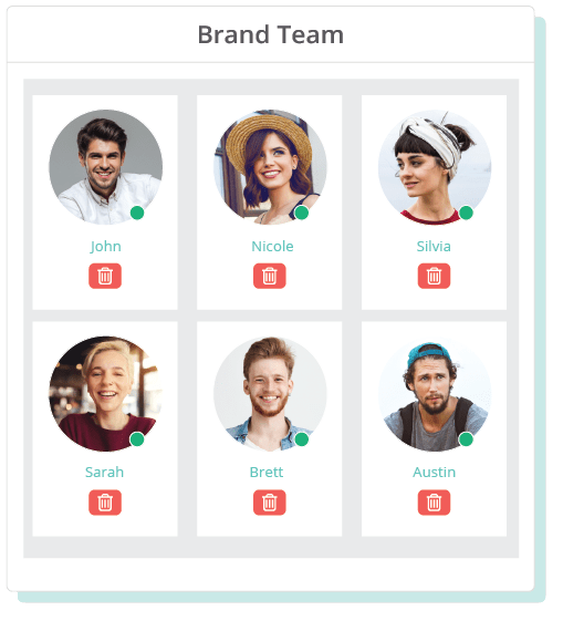 Sharelov allows you to easily manage users' access rights and group them into brand teams