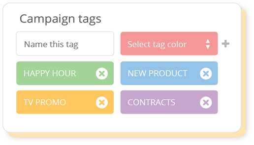 Create campaign tags to group creative assets by themes