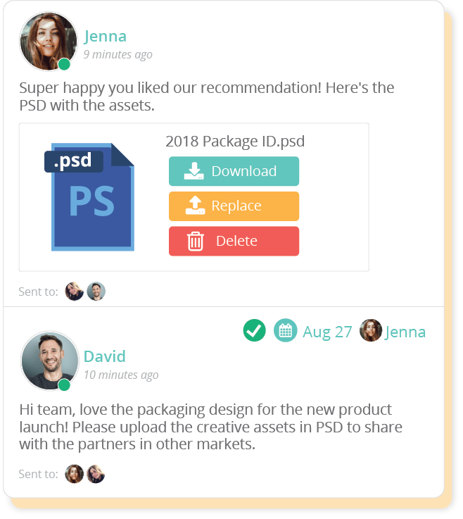 With Sharelov, your feedback is streamlined per creative asset, which makes it easier for teams to work together.
